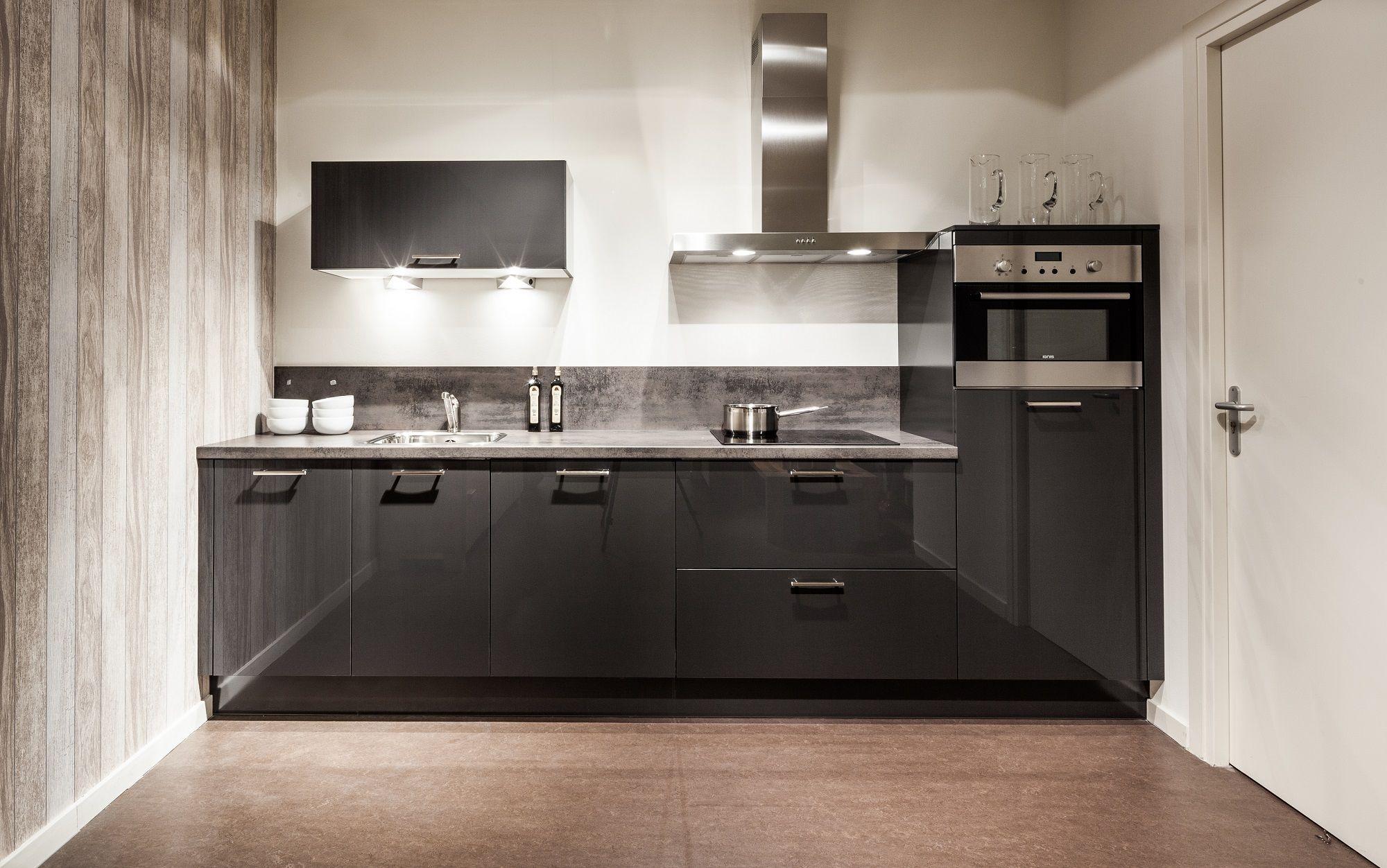 Keukenprijs altijd de beste keukenprijs rechte keuken in stratusgrijs glanzend 56832 - De beste hedendaagse keukens ...