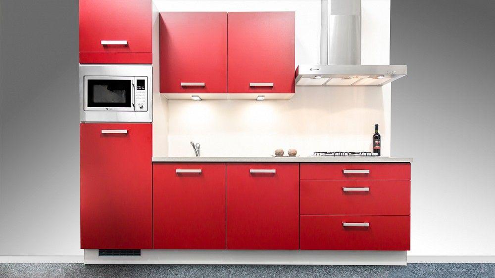 Keuken Recht 4 Meter : Altijd de beste keukenprijs! Rechte rode keuken 270 cm [54748